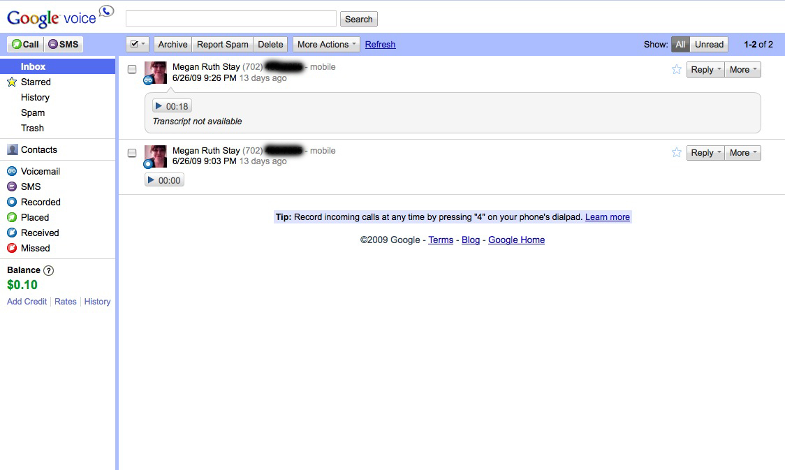 Google Voice Inbox